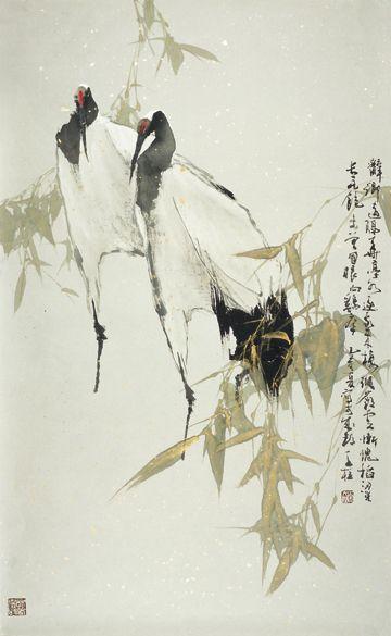 Qin Tianzhu(Chinese, b.1952)  Double Crane
