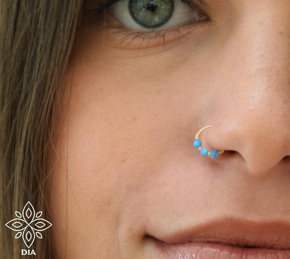 Blue Opal Nose Hoop Gold Opal Nose Ring Nose Piercing Thin Etsy