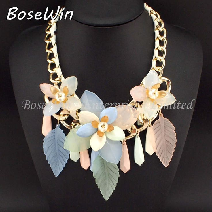 2014 Women Charm Statement Jewelry Fashion Accessories Gold Chain Big Acryl Flower Leaves Chokers Necklaces & Pendants CE2163 $8,21