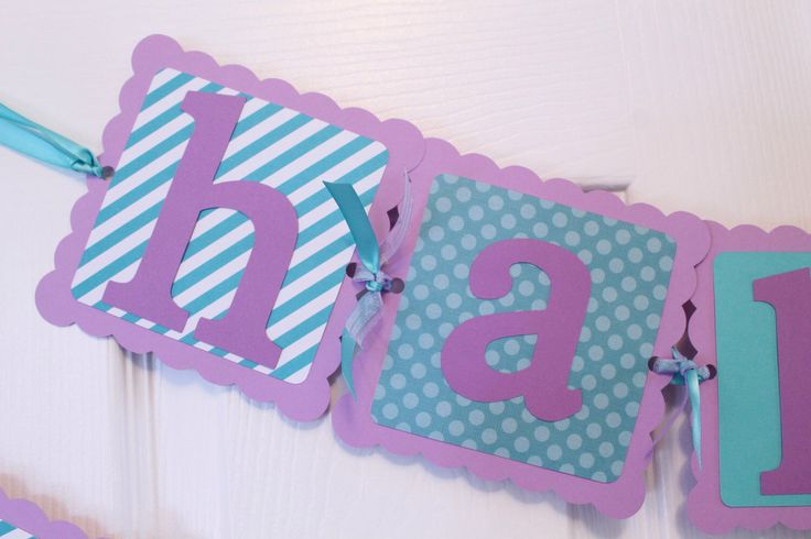 Happy Birthday Banner - Polka Dot Banner and Stripes Banner - Girls Birthday - First Birthday - Teal and Purple Banner by PartyandHomeDesign on Etsy https://www.etsy.com/listing/216996802/happy-birthday-banner-polka-dot-banner