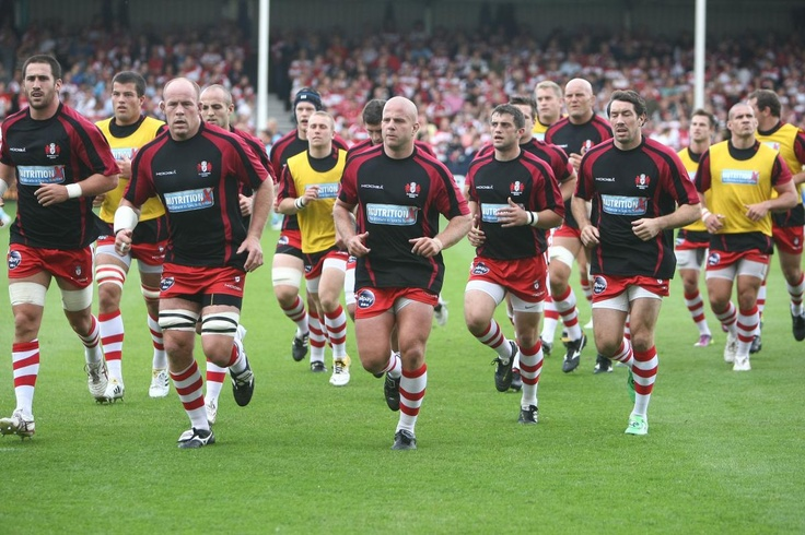 Gloucester warm up before game against Worcester Warriors