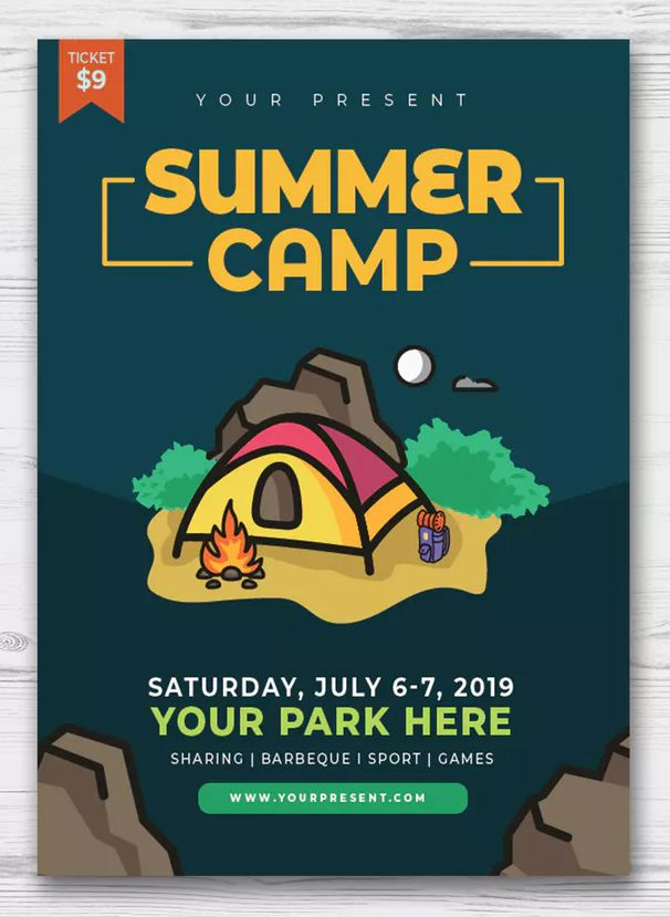 Summer Camp Flyer Template Ai Eps Download Flyer Templates
