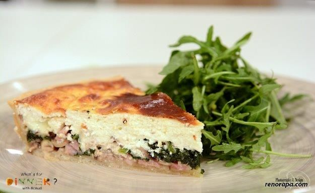 Ricotta and blue cheese quiche with pancetta, walnuts and spinach ...