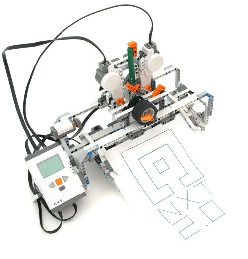 This machine plots drawings on standard A4 or US letter paper. The robot is featured in the NXT 2.0 Inventor's Guide. Building and Programming this Robot Instructions for building and programming this robot are included in The Unofficial LEGO MINDSTORMS NXT 2.0 Inventor's Guide (English) and in LEGO-Roboter II (German). It can be built with  (More)…
