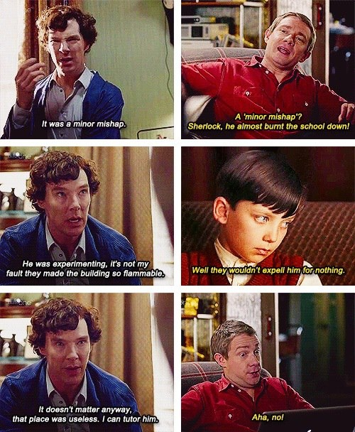 What is this!?! ... it looks like a mini Sherlock... look at the kid in the fourth picture... cousin? nephew? OMG MYCROFT'S GOT A KID!!!!!!!!!!!