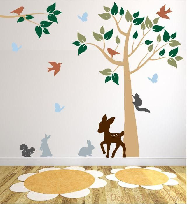 Forest Animals Wall Mural with Colorful Tree and Branch