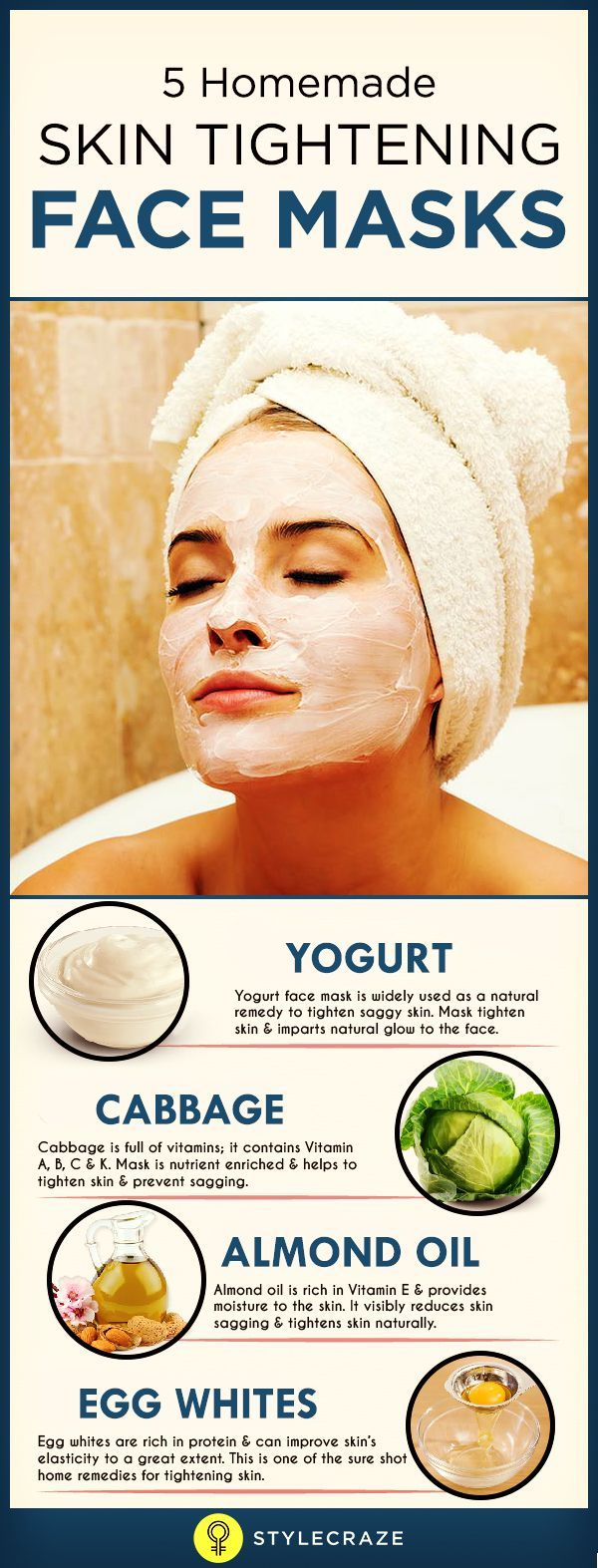 One solution is to opt for skin tightening masks. Below are a few easy skin tightening mask recipes which can be made easily at your own home. Use any of these face tightening masks at least once a week for younger looking skin.