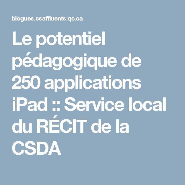 Le potentiel pédagogique de 250 applications iPad :: Service local du RÉCIT de la CSDA