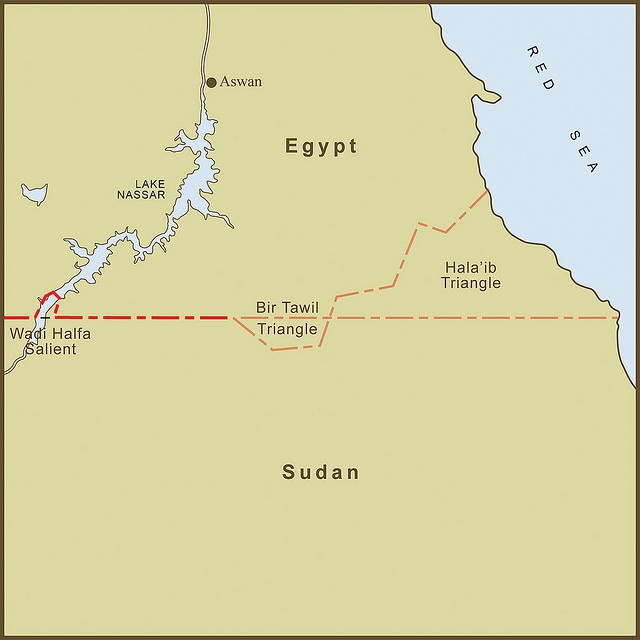 Map of the disputed border between Egypt and Sudan. Both countries claim sovereignty over the Hala'ib Triangle, but neither country wants Bir Tawil, which is then the only unclaimed territory outside of Antarctica.
