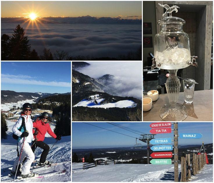 Wintersport in de Jura-bergen