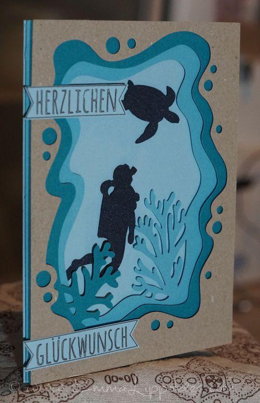 3D Geburtstagskarte Unterwasser Taucher und Schildkröte | Basteln