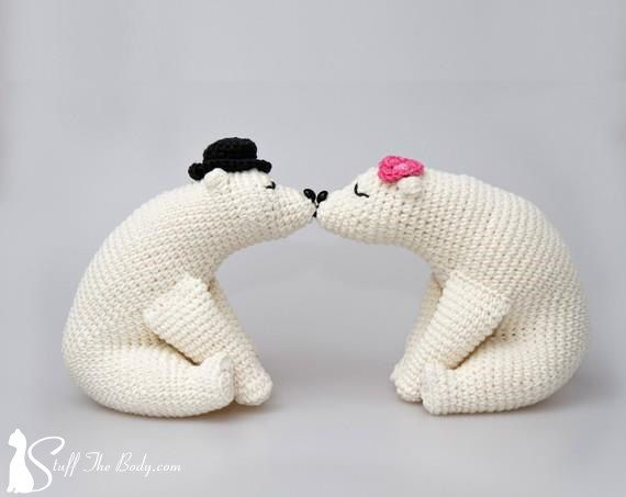 Crochet Wedding Gift: Kissing Bears Amigurumi Pattern, Wedding Crochet Pattern