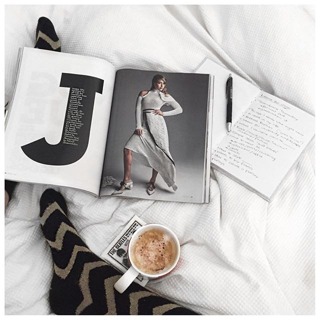 Afternoon coffee ☕️ + Vogue  = planning exciting things for my blog easier ... ✨✨ // cheiannajade on instagram