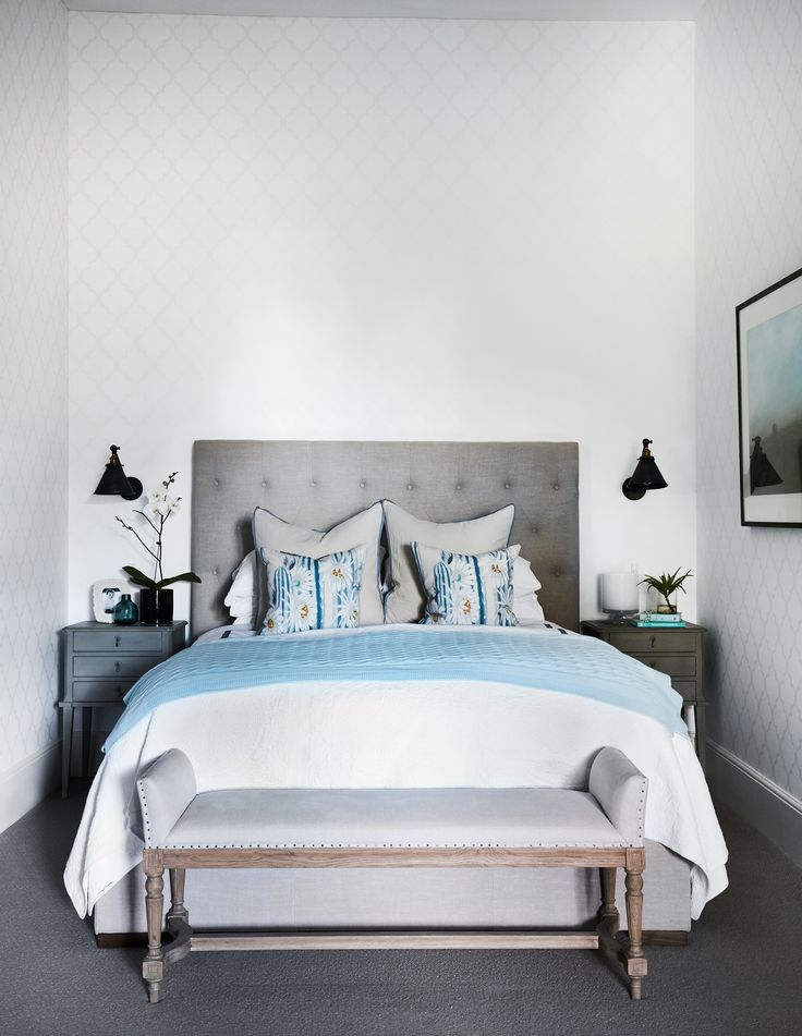 Blue accessories in an elegantly styled monochromatic bedroom create an atmosphere of calm in the master bedroom of Sydney's Historic Bronte House. Photography: Prue Ruscoe   Stylist: Kate Nixon   Story: Australian House & Garden