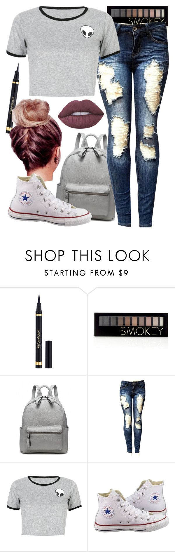 """""""Untitled #660"""" by harrypottergirl41229 ❤ liked on Polyvore featuring Yves Saint Laurent, Forever 21, WithChic, Converse and Lime Crime"""