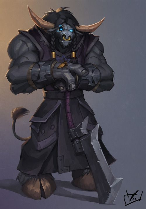 marauder2506:  My Tauren Death Knight Attarn Stormblade with his pet Cockroach 'Arthas'  this was a commission done by http://zeon-in-a-tree.deviantart.com/