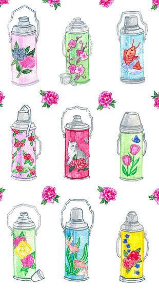 watercolor, illustration, handmade, art, liubadraws, tea, thermos, china, chinese, chinese thermos, vintage, vintage thermos, floral, cute