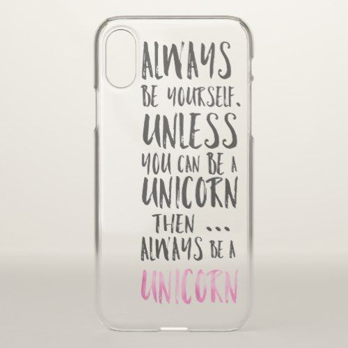 Modern funny unicorn quote typography girly iPhone x case