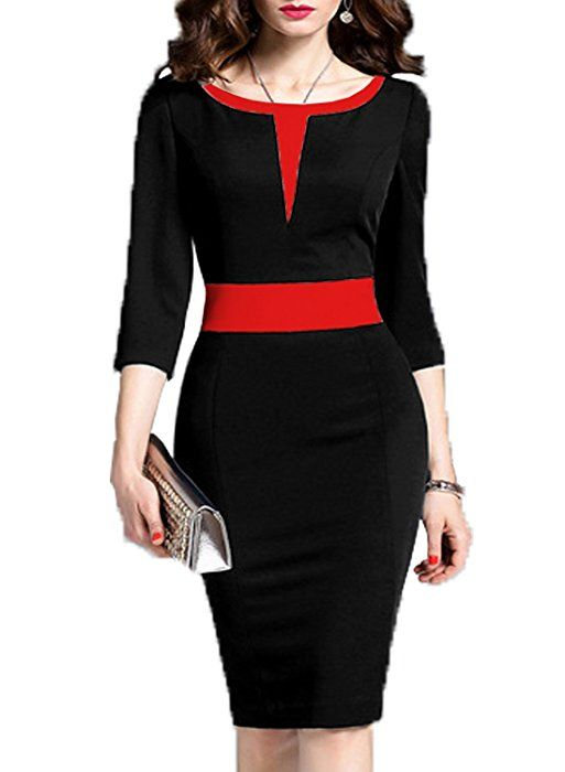 WOOSEA Women's 2/3 Sleeve Colorblock Slim Bodycon Business Pencil Dress (Small, Navy Blue) at Amazon Women's Clothing store: