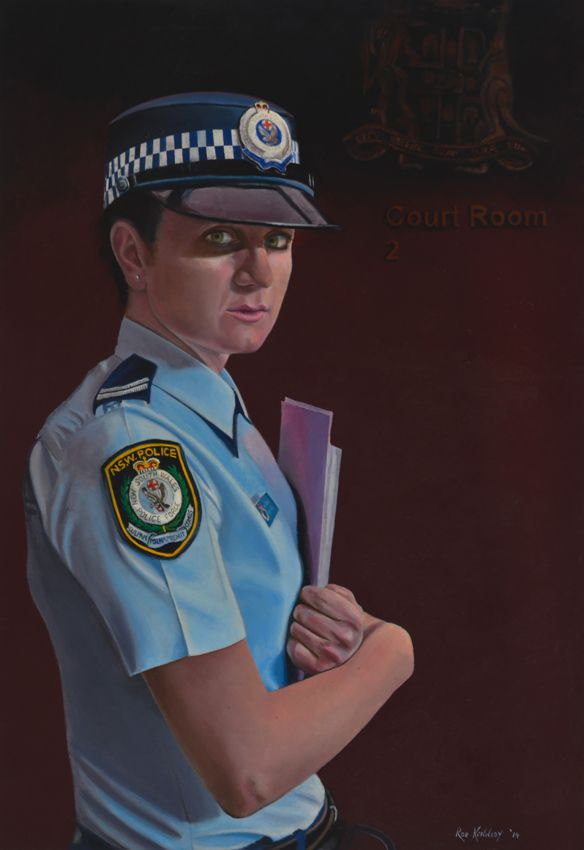 """This is a portrait of a Domestic Violence Liaison Officer for the New South Wales Police Force.  Gifted to the """"Women in Policing"""" portfolio.  DVLOs provide an important service to battered women made difficult because of often volatile situations."""