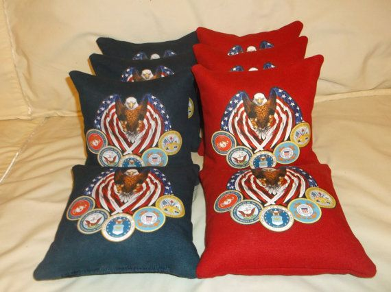 4 Red bags + 4 Navy bags. each bag has a American flag eagle, + a seal for each branch of the military, Navy, Marines, Army, Coast Guard, Air Force. for custom Orders, message or Email Sliderz.corporation@yahoo.com