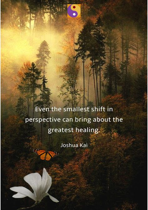 Even the smallest shift in perspective can bring about the greatest healing.