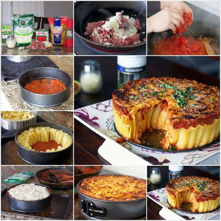 Homemade Rigatoni Pasta Pie
