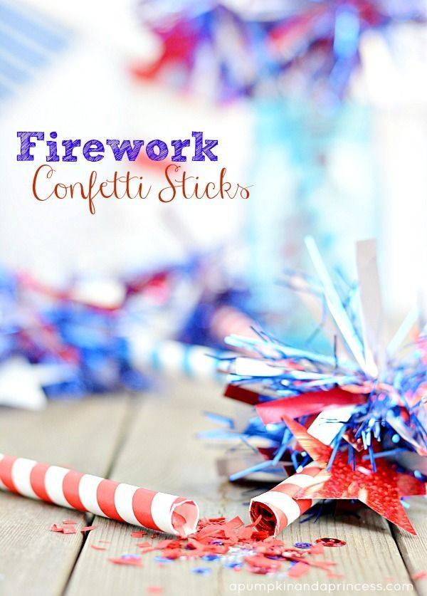 Homemade firework confetti sticks to celebrate America!