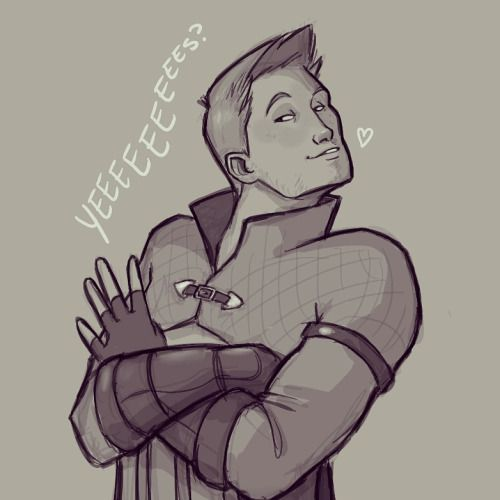 "allenvooreef: ""Day 411 - Yeeeeeeees?  Alright I know I've been drawing Alistair a lot lately but come it's Valentine's Day! How could I not? """