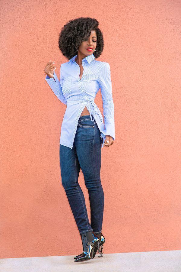 Asymmetric Button Down Shirt + Ankle Length Jeans