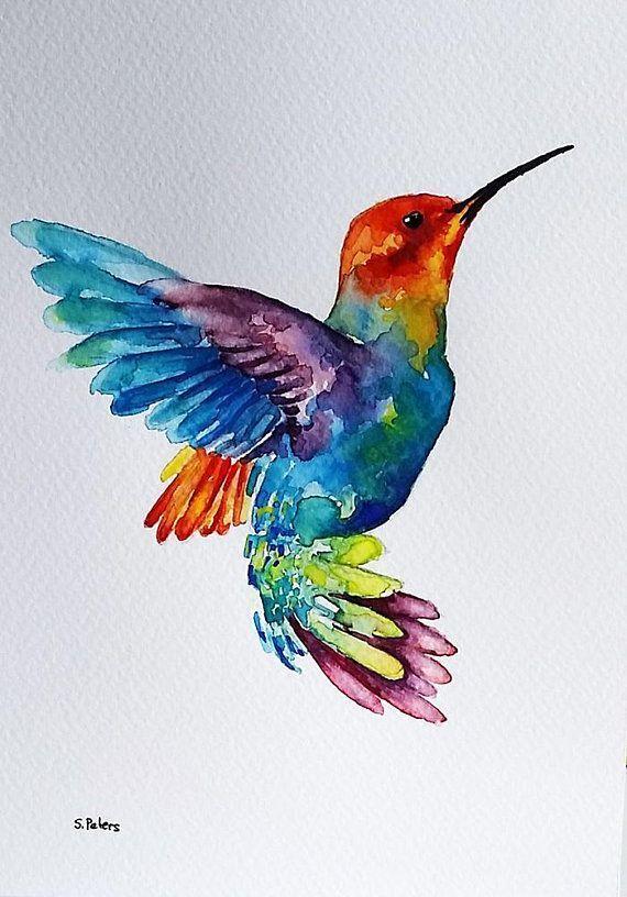 Original Aquarell, fliegender Regenbogen Kolibri, bunte Vogel Kunst 6 x 8 – Malerei