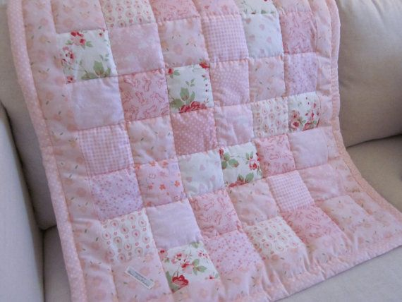 Shabby Chic Baby patchwork cot quilt by AnneLiseQuilts on Etsy