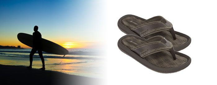 Dunas IV Kids - Brown Step to a different beat with this trendy, graphic and textured flip-flop in bold and bright colors. A slim but resilient Flexpand insole and narrow toe post make these sandals as comfy as they are eyecatching.
