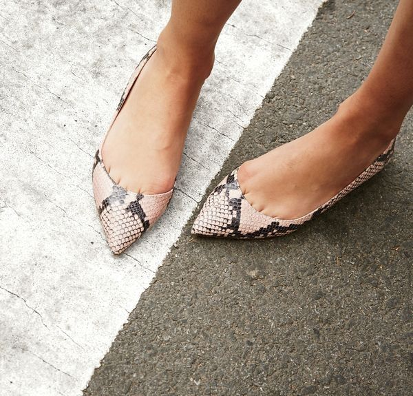 J.Crew women's Audrey flats in snakeskin-printed leather.