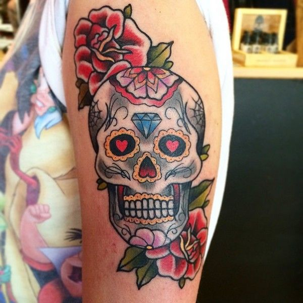 72 best sugar skull tattoo images on pinterest meaning for Skull tattoos meaning