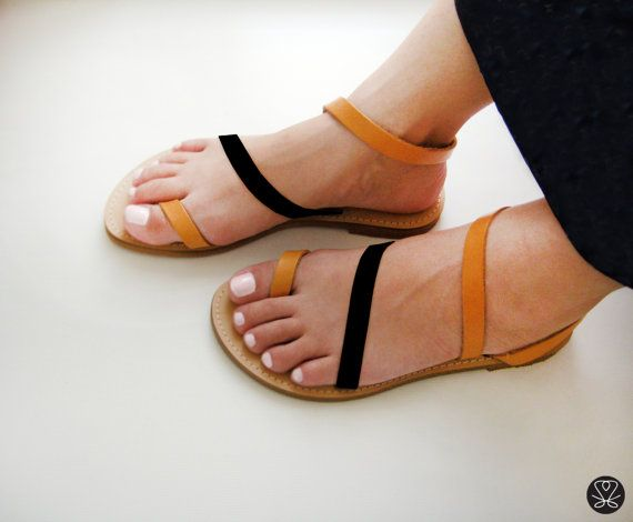 Genuine Greek Leather Sandals in Tan and Black