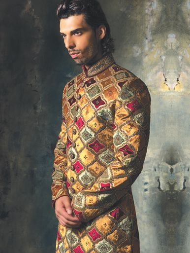 Multi-coloured velvet Sherwani with antique bead embroidery