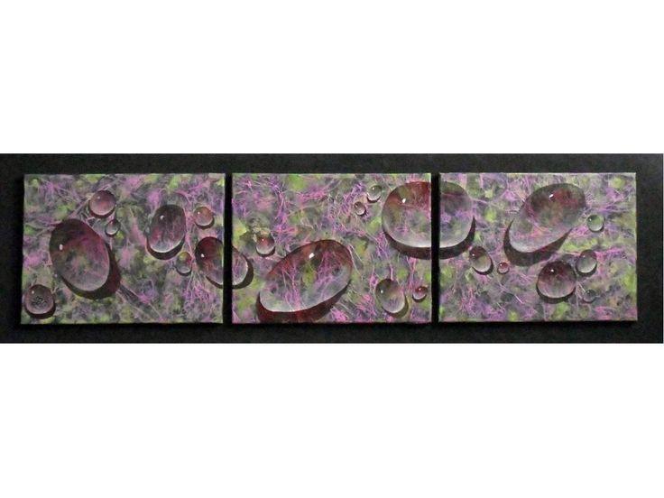 Tableau design triptyque Les gouttes1, peinture & stucco 150 x 42 cm : Peintures par mgdecors