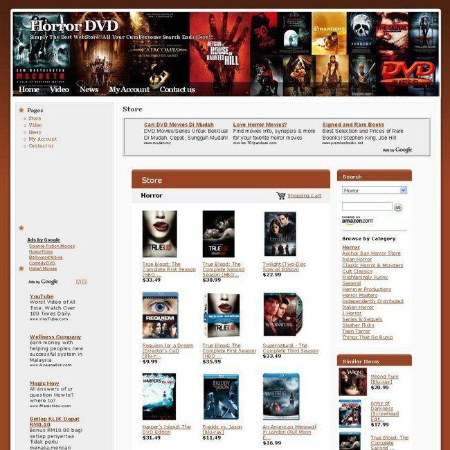 Established Horror DVD Store Online Business Website For Sale Free Domain Name