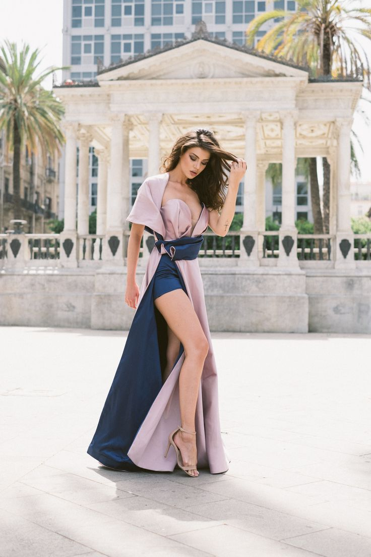 Next  Be a queen in our Gloria dress. Draping V plunge corset detail and one shoulder cover up, high split skirt, maxi dress. Julia Toaders dress