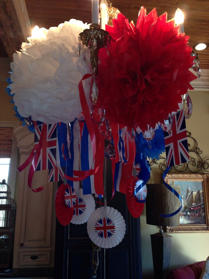 Ideas for Union Jack  British parties  Decorate your chandelier ,