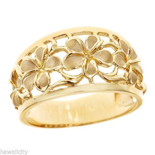 Hawaiian-Heirloom-Jewelry-14k-Yellow-Gold-Cut-Out-5-Plumeria-Taper-Ring