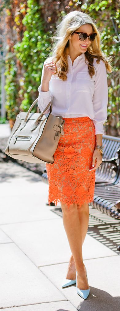 Orange Lace Skirt Outfit or White Loose Shirt and Sky Blue Pumps Idea by Ivory Lane