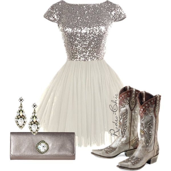 Silver Lining by rodeo-chic on Polyvore; Cowboy Boots by @laneboots for @ddranchwear; sequin dress; prom, country, western, Jewelry by sorrelli