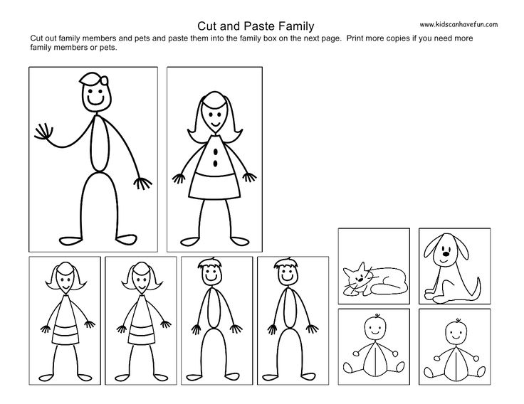 Cut and Paste Family | Cut and Paste Worksheets, Activities for ...