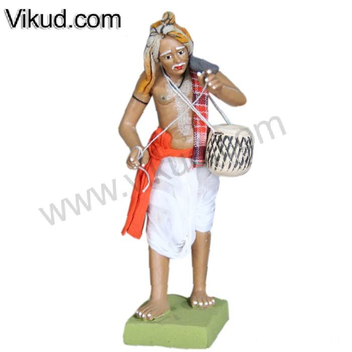 Terracotta-Rajasathani Old Man Plays Miruthangam Doll- (6 Inches)