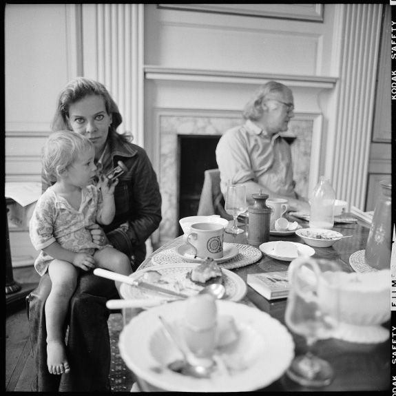 Robert Lowell and Caroline Blackwood with son Sheridan, 1973 by Walker Evans
