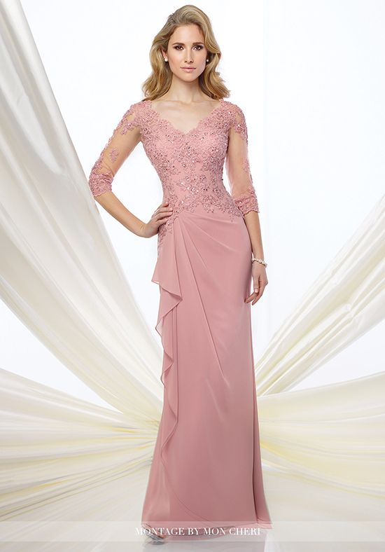 Chiffon slim A-line gown with illusion and lace 3/4 length sleeves, front and back scalloped V-necklines, hand-beaded lace appliqué bodice, side gathered skirt with cascading ruffle.