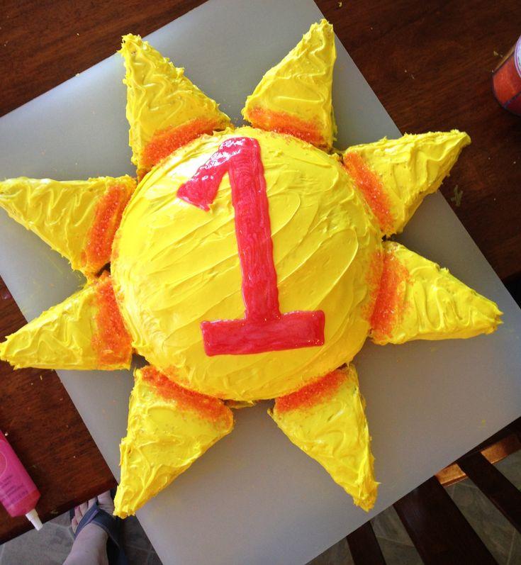 "Sun cake for 1st birthday.  ""You are my sunshine"" theme."