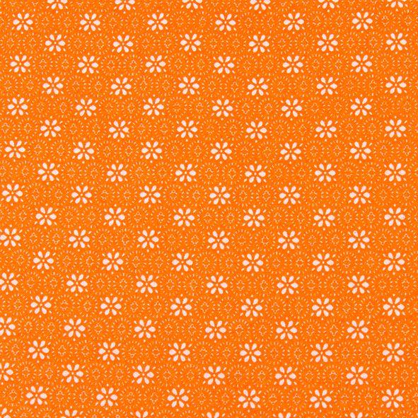 Bavlněná látka Kytičky na jasně oranžové